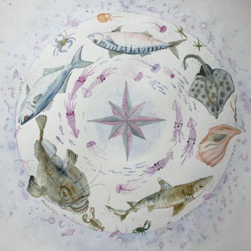 Trash Fish Watercolor by Elizabeth Mumford